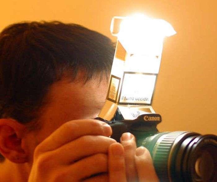 Светорассеиватель для спалаху фотоапарата з пачки сигарет (5 фото)